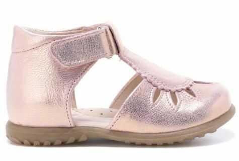 EMEL E2436-13 Roczki sandałki, baleriny, pół sandały profilaktyczne dziewczęce - różowy złoty