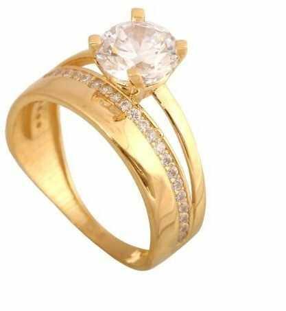 Złoty pierścionek nowoczesny Pi281