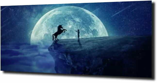 obraz na szkle, panel szklany Konie księżyc