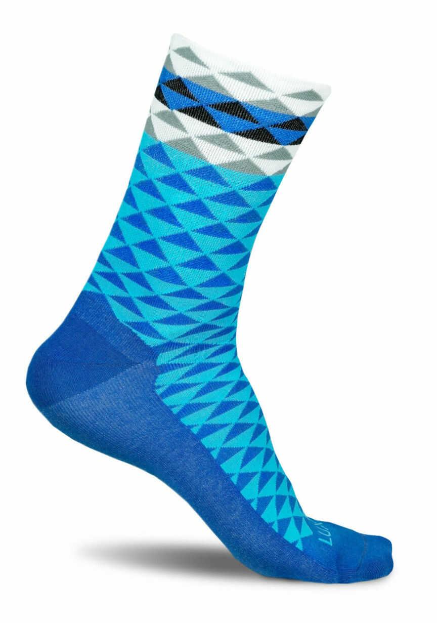 Profesjonalne skarpety kolarskie ASYMMETRIC BLUE- wysokie, oddychające