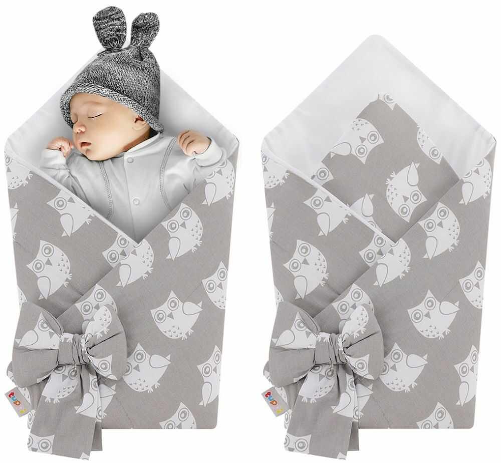 Rożek niemowlęcy bawełniany otulacz dziecięcy becik - SZARE SOWY