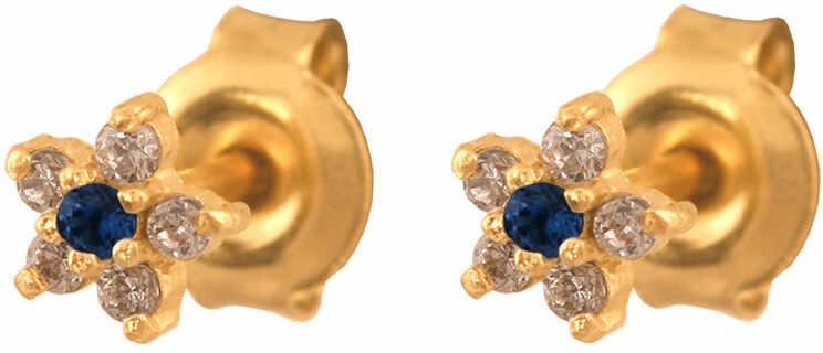 Złote kolczyki 585 z kamieniami kwiatuszki na szyft 0.85g