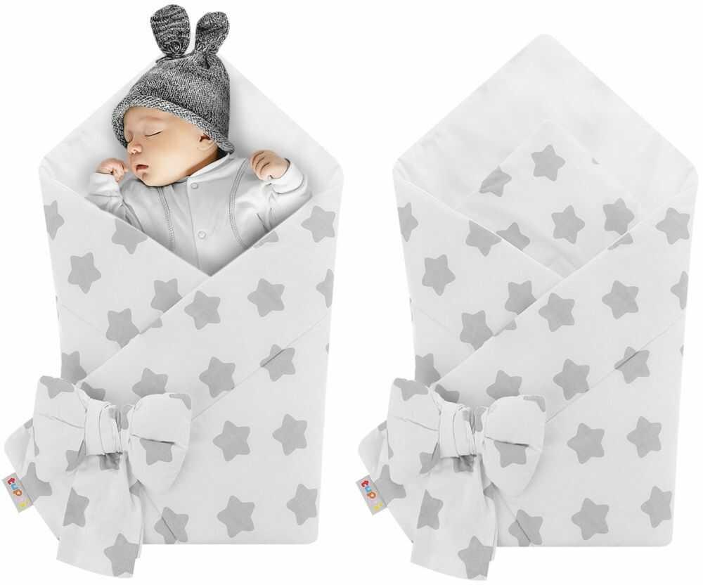 Rożek niemowlęcy bawełniany otulacz dziecięcy becik - SZARE PIERNIKI