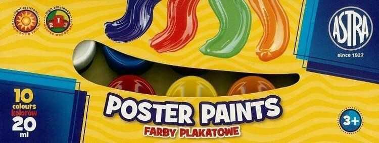 Farby plakatowe 10 kolorów 20ml ASTRA - ASTRA papiernicze