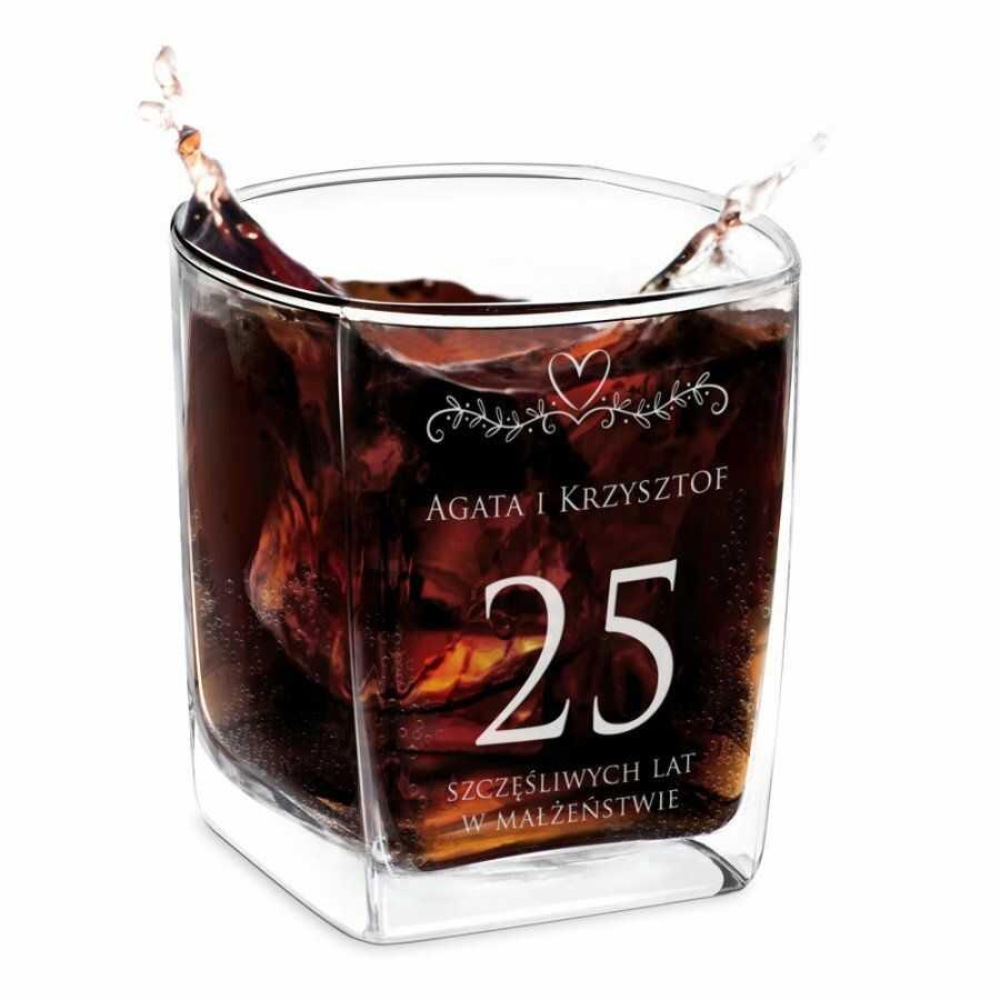 Szklanka do whisky z grawerem dla pary na 25 rocznicę
