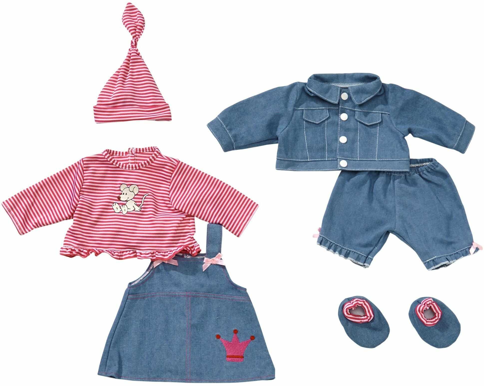 Bayer Design 84618 dla lalek 42-46 cm, spodnie, top, kurtka, sukienka, koszulka, czapka, buty, wygląd dżinsu, różowe