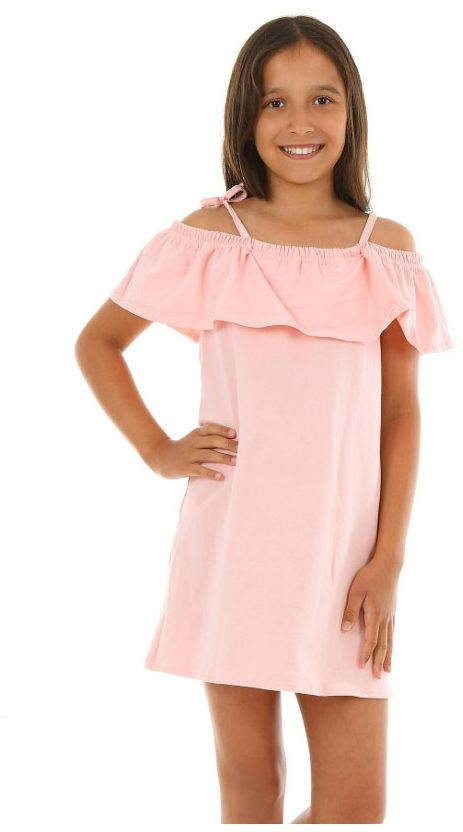 Luźna sukienka z falbanką 116-158 KRP46 róż