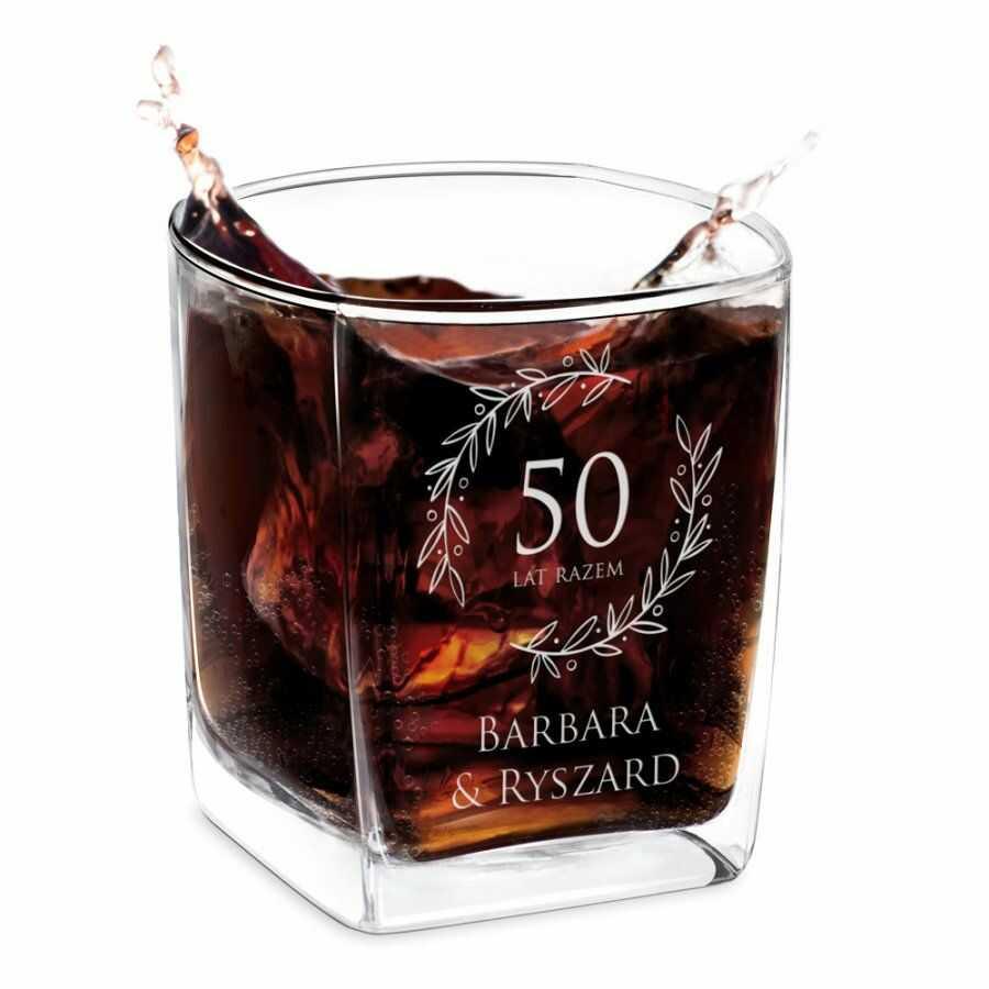 Szklanka do whisky z grawerem dla pary na 50 rocznicę