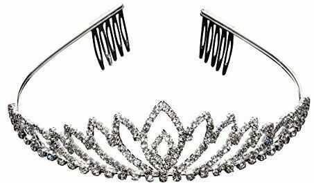 AAHB Biżuteria dla panny młodej opaska do włosów diadem dla panny młodej ze strasem na komunię