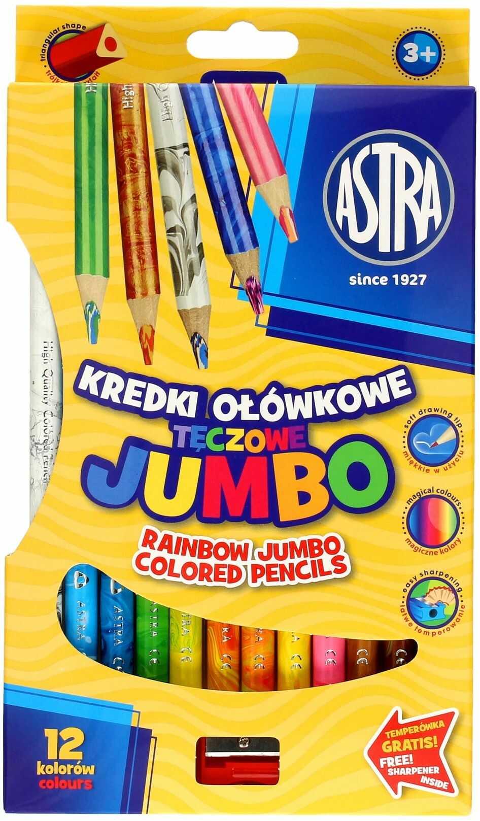 Kredki ołówkowe tęczowe 12kol trójkątne Jumbo Astra 312118002