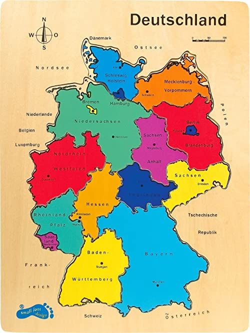 mała stopka 1965 Puzzle Niemcy z drewna, z kolorowymi stanami związkowymi od 5 lat