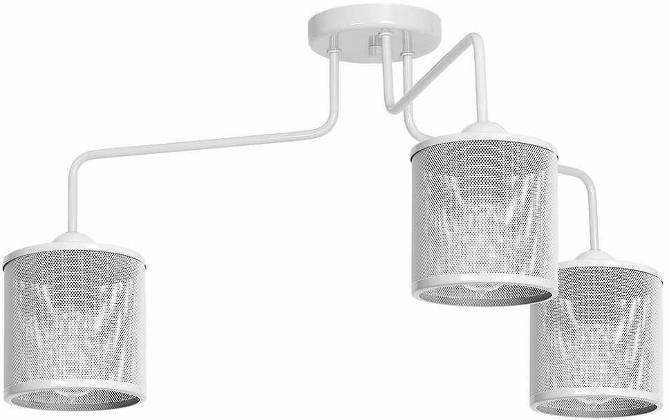 Milagro LOUISE WHITE MLP657 plafon lampa sufitowa klosz metalowa siatka biała 3xE27 84cm