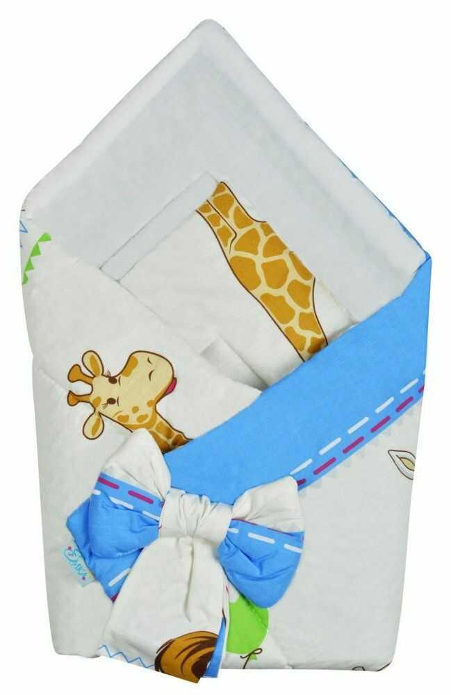 Rożek niemowlęcy bawełniany otulacz dziecięcy becik - ZEBRA BALONIK NIEBIESKI