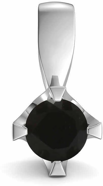 Kuźnia Srebra - Zawieszka srebrna, 14mm, Czarny Onyks, 1g, model