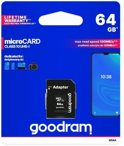 GOODRAM micro SDXC 64GB Klasa 10 + adapter