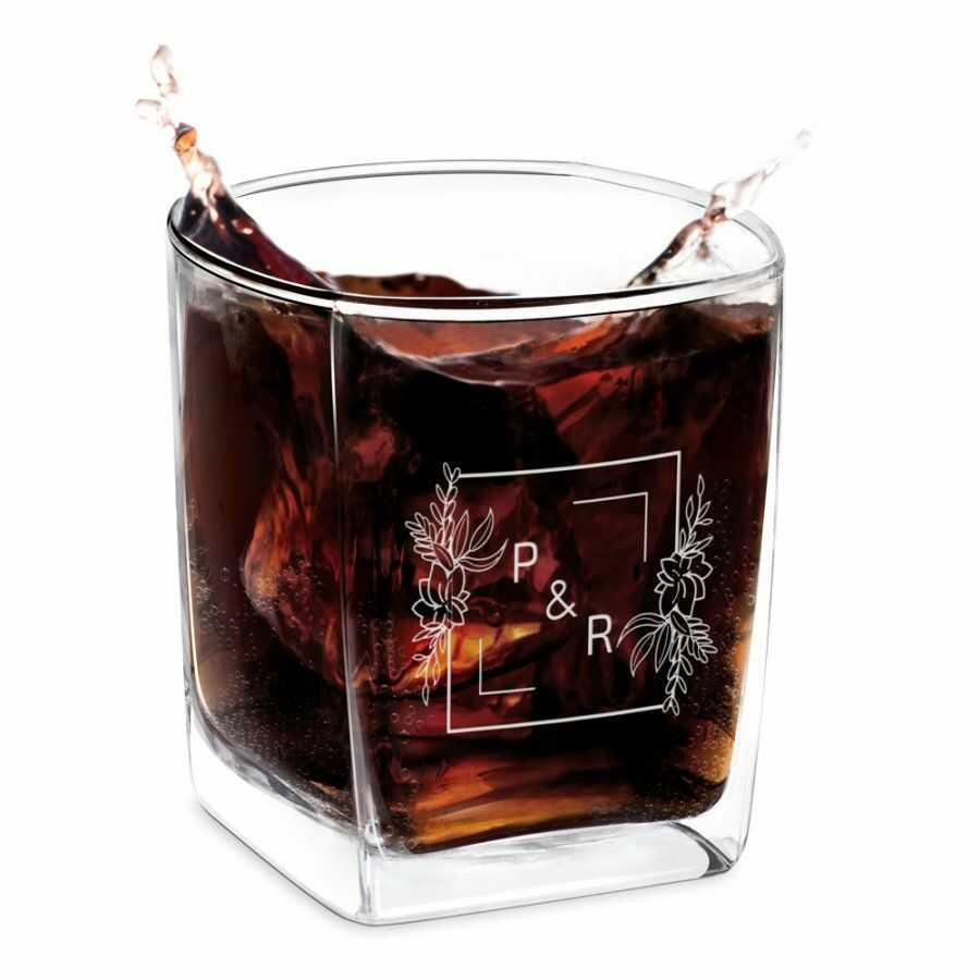 Szklanka do whisky z grawerem dla pary na ślub rocznicę parapetówkę