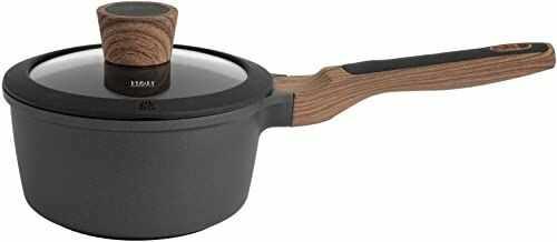 H&H Black + Wood nieprzywierający rondel z pokrywką, 16 cm, odlew aluminiowy, czarny