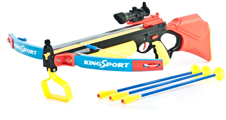 Duża (dł. 67cm!) Kusza Sportowa dla Dzieci.... z Celownikiem Laserowym + 3 Strzały.