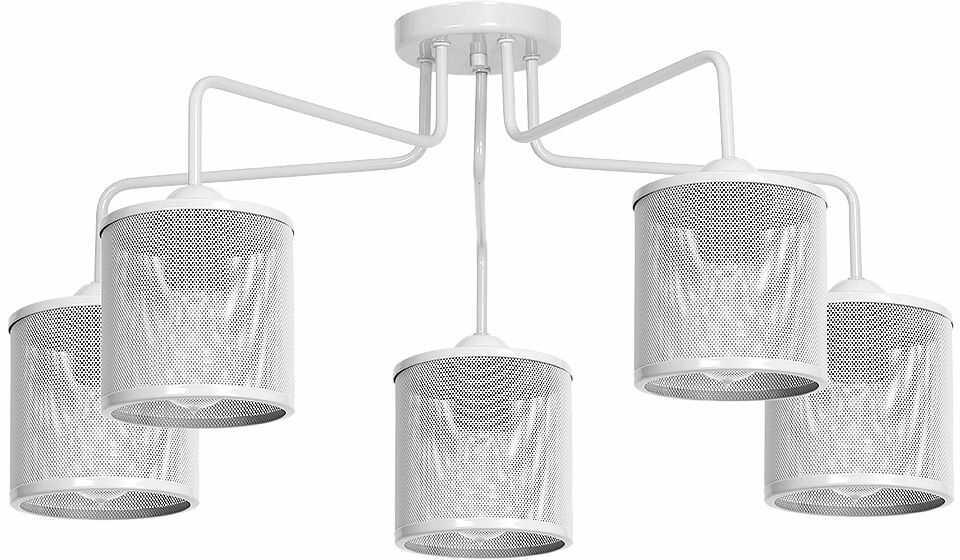 Milagro LOUISE WHITE MLP659 plafon lampa sufitowa klosz metalowa siatka biała 5xE27 84cm