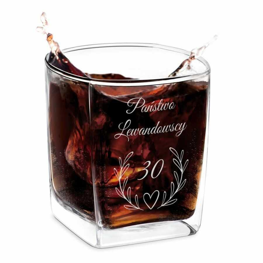 Szklanka do whisky z grawerem dla pary na 30 rocznicę