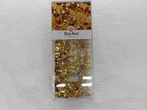 Rayher 14538616 mieszanka cekinów/koralików szklanych, złota, 80 g i 50 m drut o średnicy 0,3 mm, koraliki do majsterkowania, koraliki Rocailles, cekiny, perły woskowane, drut nawlekany