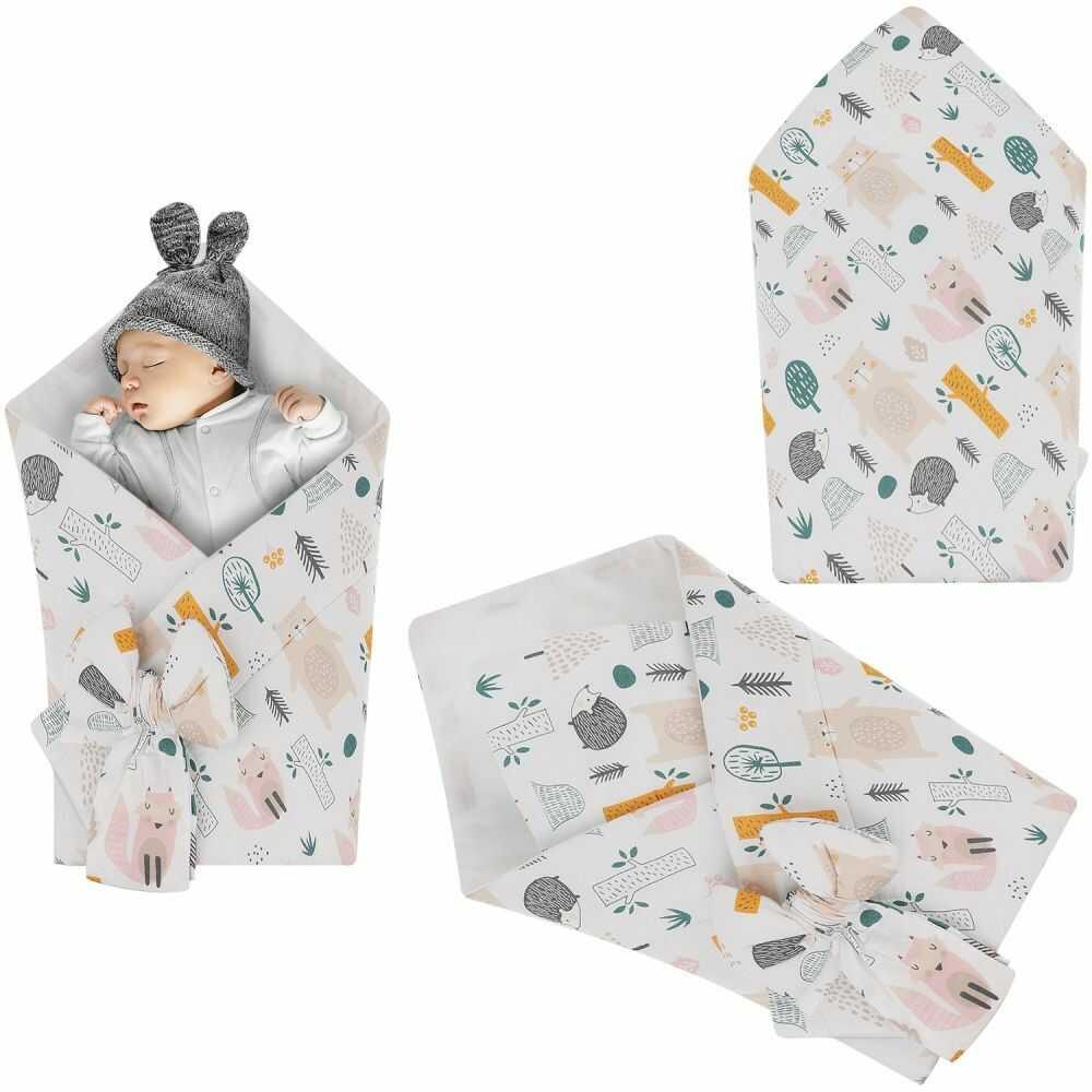 Rożek niemowlęcy bawełniany otulacz dziecięcy becik - LAS