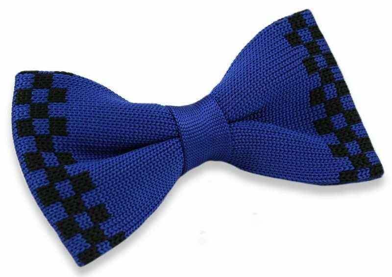 Mucha Typu Knit - Alties - Niebieska w Czarną Kratką MUALTS0185