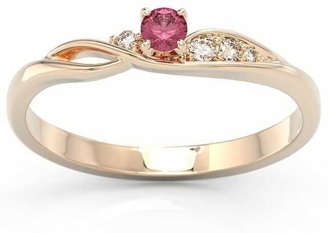 Pierścionek z różowego złota z rubinem i brylantami bp-7810p