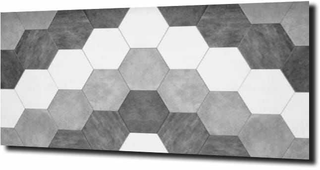 obraz na szkle Heksagon biały szary czarny