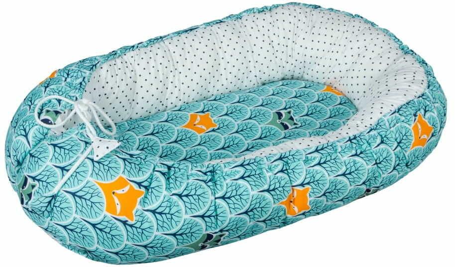 Kokon niemowlęcy / gniazdko dla noworodka - Las (zestaw materacyk + motylek)