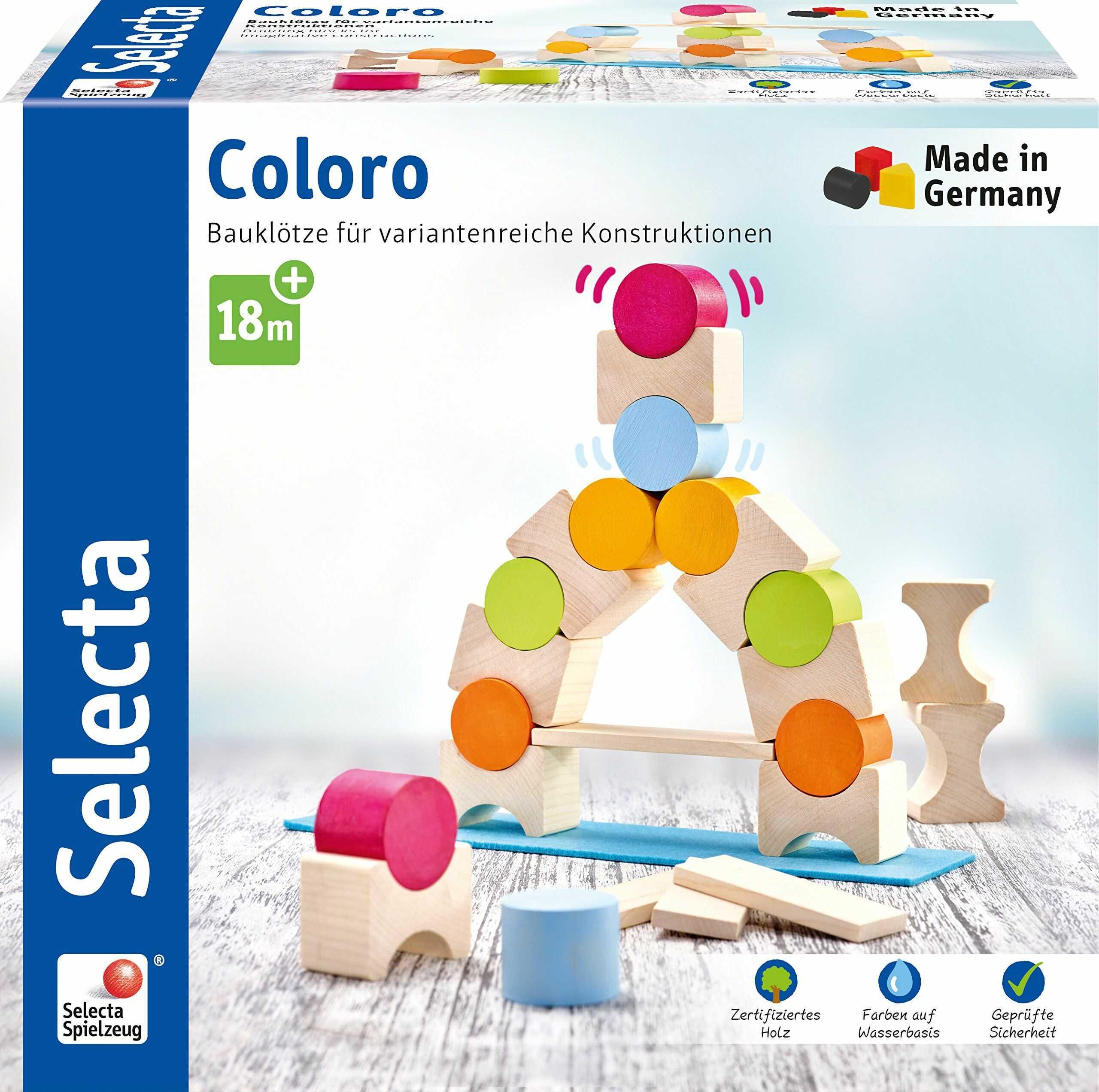 Selecta 62067 Coloro, klocki drewniane, 20 części, wielokolorowe