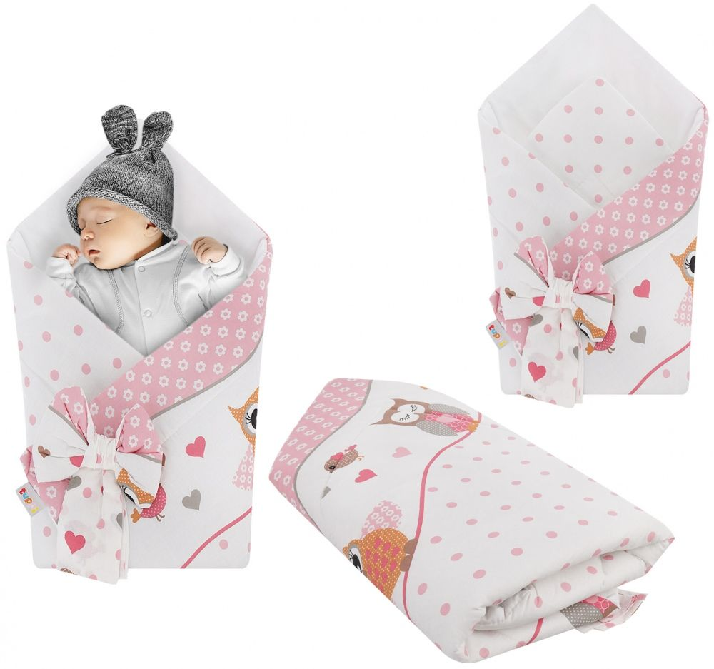Rożek niemowlęcy bawełniany otulacz dziecięcy becik - SOWY NA ROWERACH RÓŻOWE