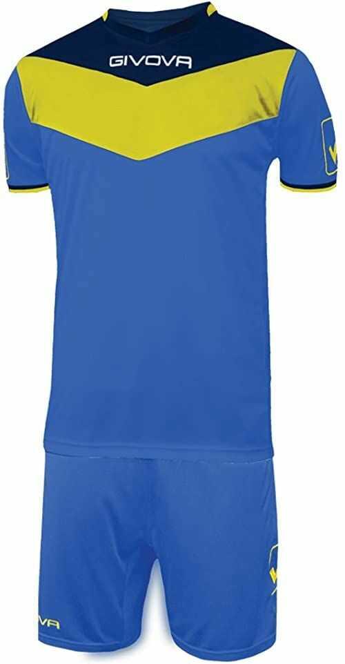 Givova Zestaw uniseks, koszulka i spodnie do piłki nożnej. wielokolorowa jasnoniebieski/żółty M