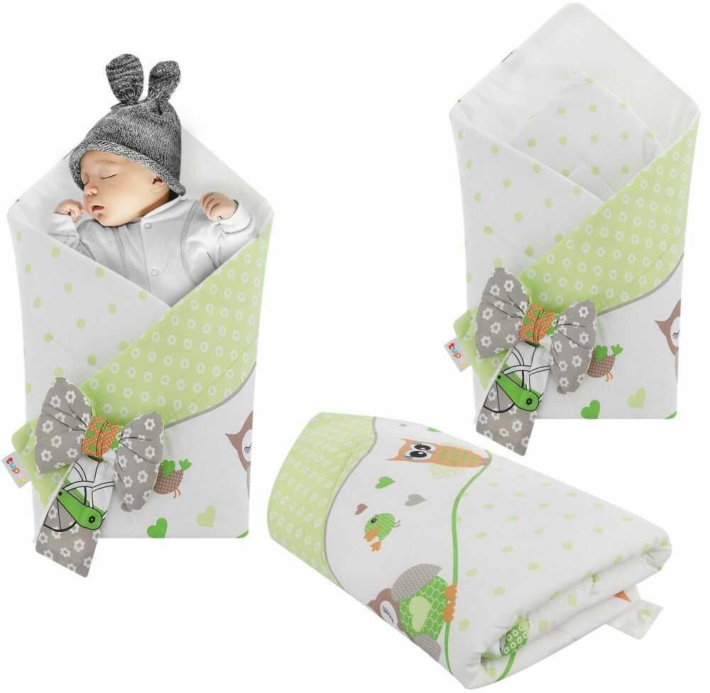 Rożek niemowlęcy bawełniany otulacz dziecięcy becik - SOWY NA ROWERACH ZIELONE
