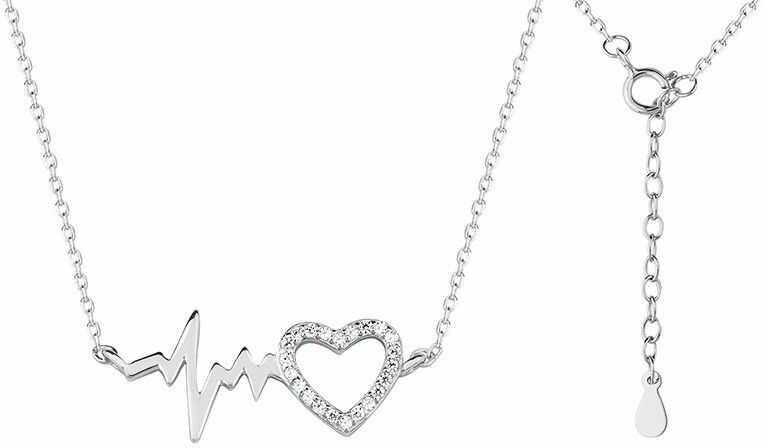 Delikatny rodowany srebrny naszyjnik gwiazd celebrytka linia życia tętno puls serce serduszko cyrkonie srebro 925 Z1533N