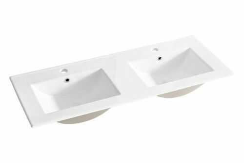 Umywalka ceramiczna podwójna 120x46x17 cm meblowa naszafkowa