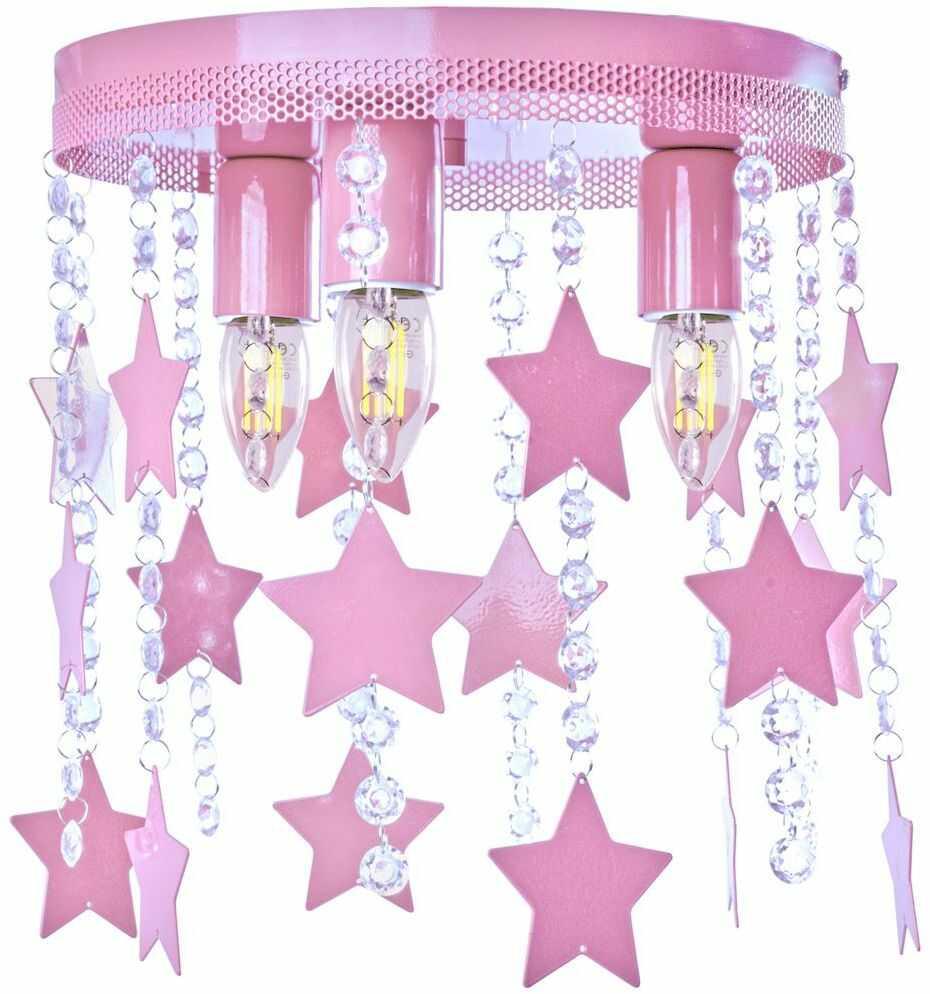 Milagro STAR MLP1128 plafon lampa sufitowa metal różowy kryształki gwiazdki 3xE27 30cm
