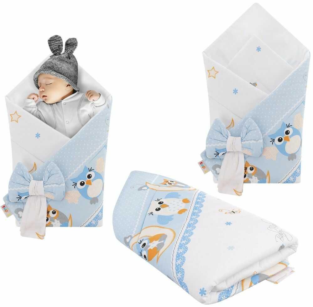 Rożek niemowlęcy bawełniany otulacz dziecięcy becik - SOWY NOCĄ NIEBIESKIE