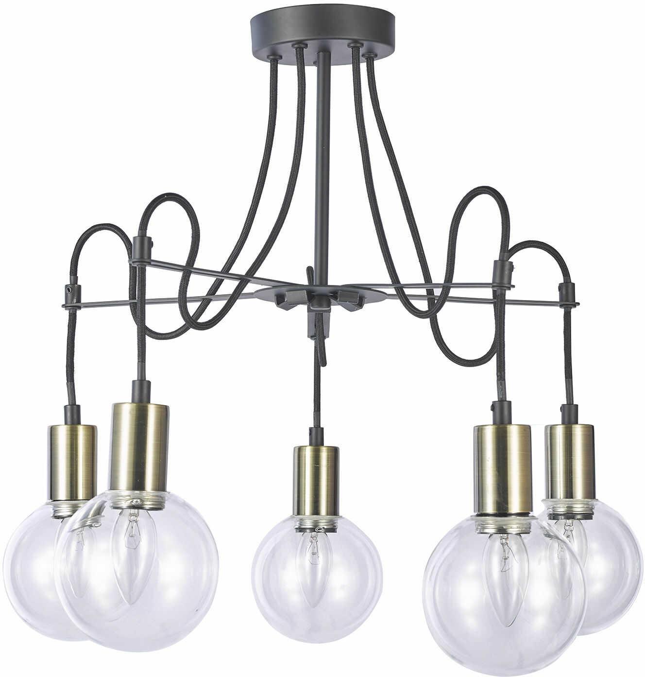 Italux Gianni MX16096-5A plafon lampa sufitowa nowoczesna metalowa klosze szkło przeźroczyste E14 5x40W IP20 57cm