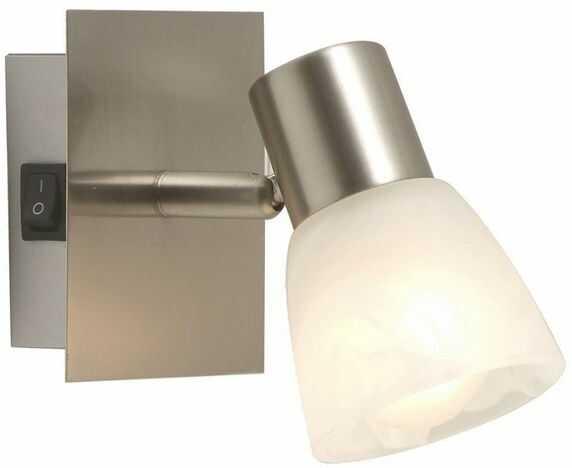 Globo kinkiet lampa ścienna Parry 54530-1 nikiel mat, szkło alabastrowe, wyłącznik