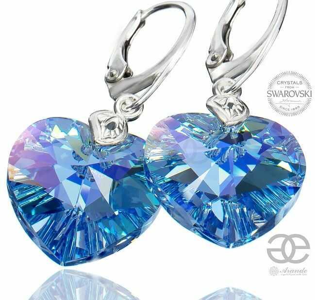 Kryształy duże serca kolczyki niebieskie SAPPHIRE HEART SREBRO