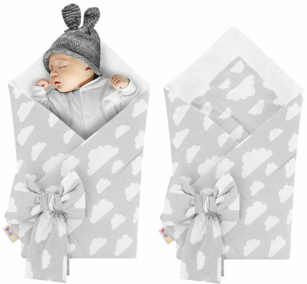 Rożek niemowlęcy bawełniany otulacz dziecięcy becik - SZARY W BIAŁE CHMURKI