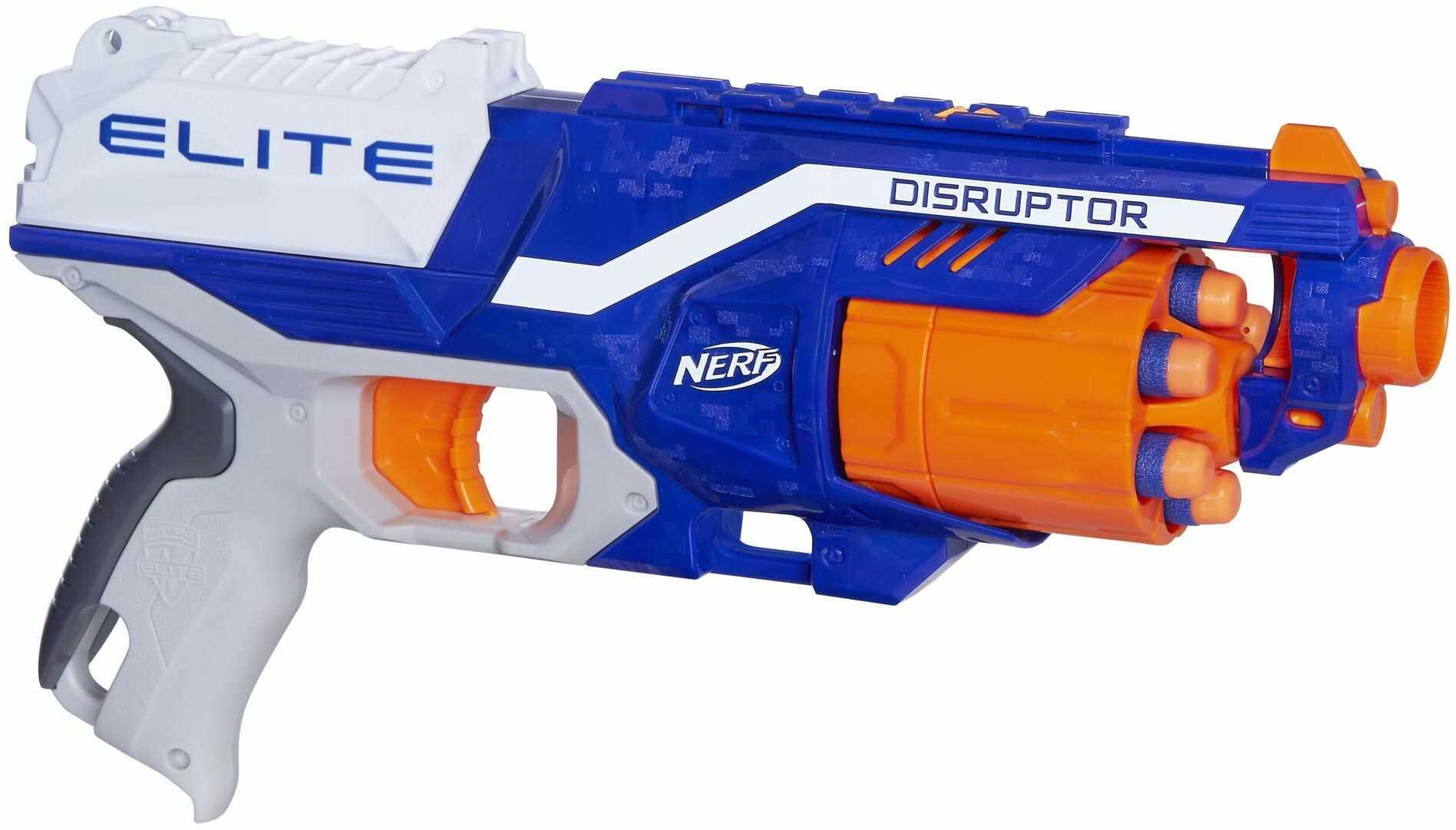 Hasbro B9837EU4 Nerf N-Strike Elite Disruptor Blaster Zabawkowy, z Magazynkiem Bębnowym, Wielokolorowy