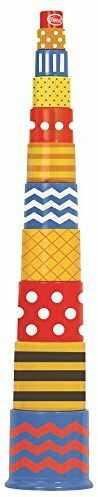 Gowi Zabawki 45343 11-częściowy retro piramida zabawki do układania w stos