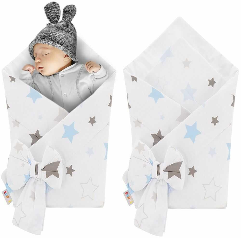 Rożek niemowlęcy bawełniany otulacz dziecięcy becik - NIEBIESKO-SZARE GWIAZDY