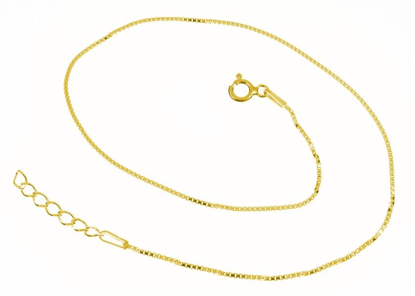 Elegancka pozłacana srebrna bransoletka na nogę kostka wenecka srebro 925 FL139BGN