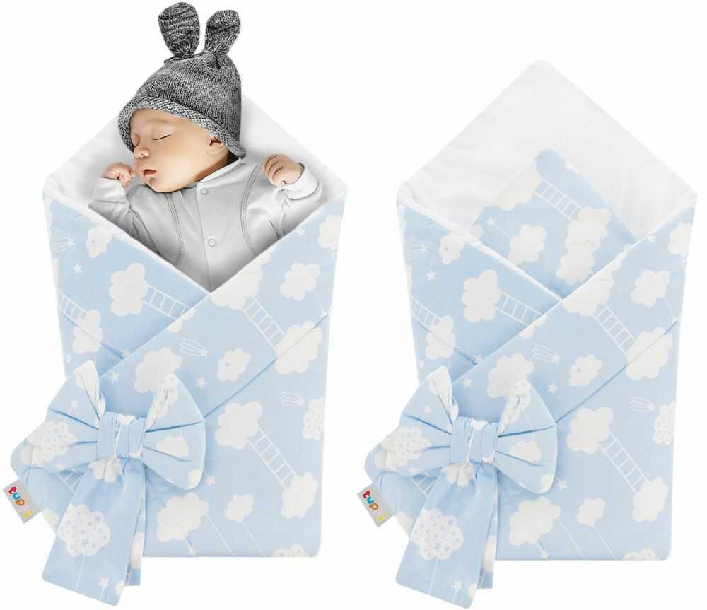 Rożek niemowlęcy bawełniany otulacz dziecięcy becik - BŁĘKITNY W BIAŁE CHMURKI Z DRABINKĄ