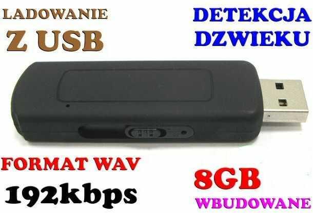 Mobilny Mini-Podsłuch Nagrywaj. Dźwięk/Dyktafon, Ukryty w Pendrive 8GB/280h + Aktywacja Głosem VOX.
