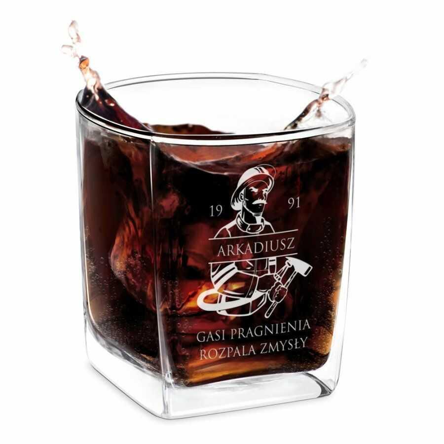 Szklanka do whisky z grawerem dla strażaka na urodziny