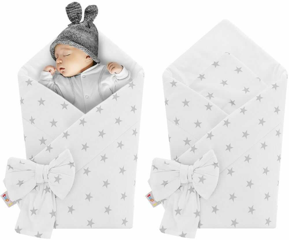 Rożek niemowlęcy bawełniany otulacz dziecięcy becik - BIAŁY W SZARE GWIAZDECZKI
